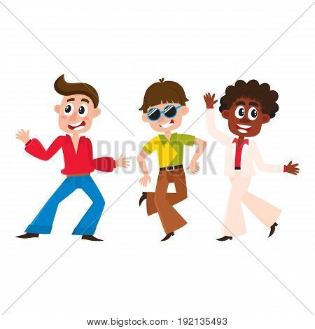 Boy retro disco dancers, black and Caucasian men, cartoon vector illustration isolated on white background. Men and women in colorful clothes dancing at retro disco party
