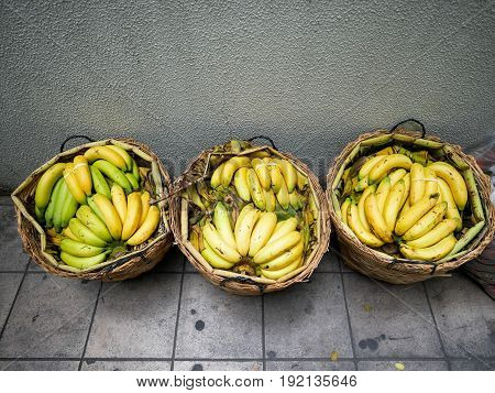 Top View of Bananas in Basket Ready to Sell.