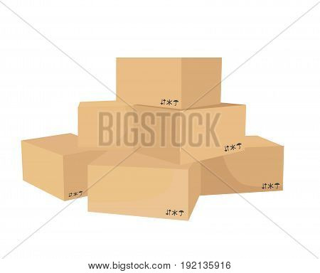 Vector isometric cardboard box set. Collection of isometric cardboard boxes of different types