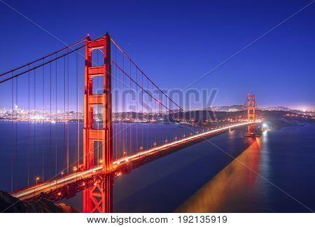 Golden Gate San Francisco California at night