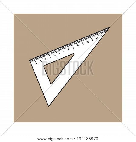 Simple hand drawn plastic angle ruler, office supply, school stationary, sketch style vector illustration isolated on brown background. Realistic hand drawing of school angle ruler