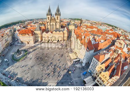 PRAGUE, CZECH REPUBLIC - MAY 2017: Buildings on the Old Town square Staromestska Namesti in Prague, Czech Republic. Fish-eye lens.