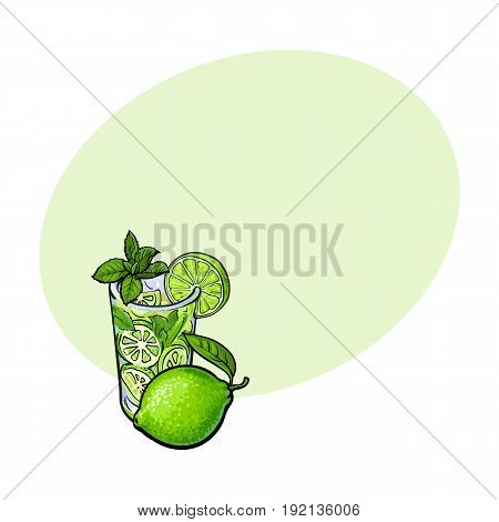 Whole lime and glass of freshly squeezed juice, mojito, cocktail with ice and mint, sketch vector illustration with space for text. Hand drawn glass of lime juice and lime quarter