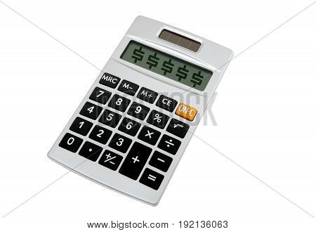 Small handheld calculator for math figures on white