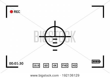 Modern digital video camera focusing screen isolated on white background