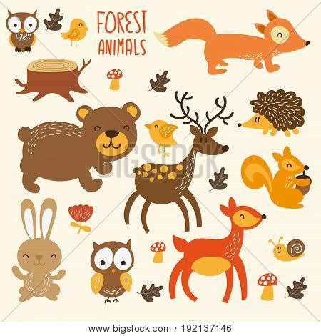 Set of cute woodland animals isolated on white background with text Wild and Free.