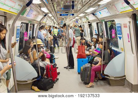 People Inside Metro Train. Singapore