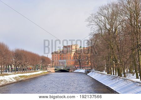 The Mikhailovsky Castle and Moyka River in St.Petersburg at sunny day Russia.