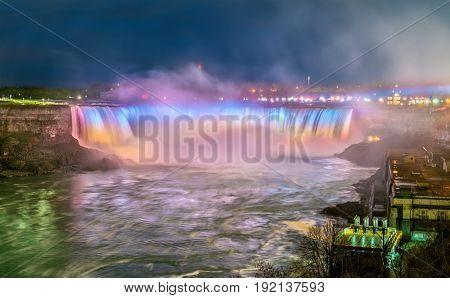 Horseshoe Falls, also known as Canadian Falls at Niagara Falls. View from Canada