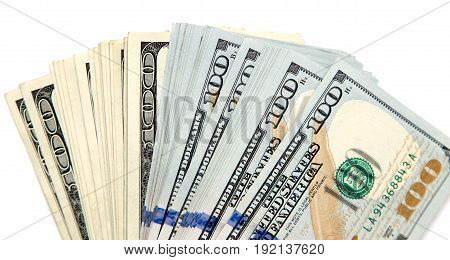 hundred dollar bill on a white background .