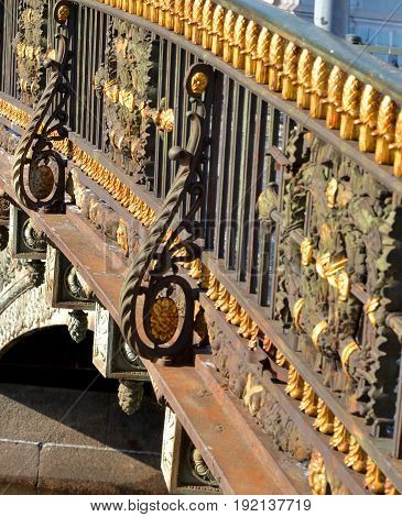 Fragment of fence of the Great Stables Bridge in St.Petersburg Russia.