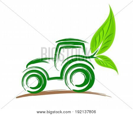 Logo of a heavy eco friendly tractor.