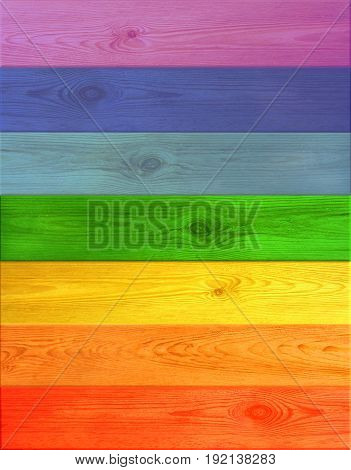 Texture from multicolored wooden horizontal boards from colors of rainbow