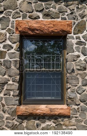 A close up of the window at Kip's Castle in New Jersey
