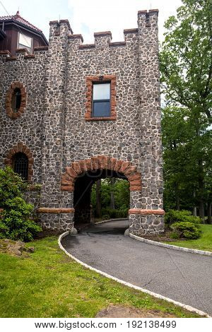 The road leading to the front of Kip's Castle in Verona New Jersey