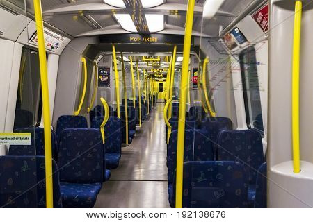 STOCKHOLM, SWEDEN - JUNE 27, 2016: This is interior of the Stockholm Tunnelbana carriage.