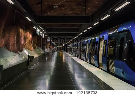 STOCKHOLM, SWEDEN - JUNE 27, 2016: This is interior of the Radhuset subway station.