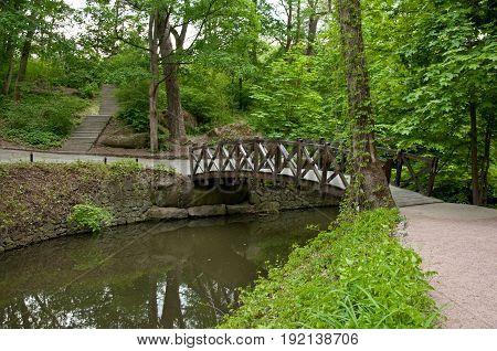 Beautiful Wooden Footbridge Across River
