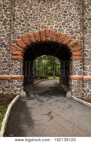 The archway at Kip's Castle in Verona New Jersey