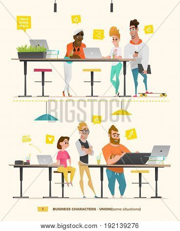 Business characters in some situations while working. People set for your design