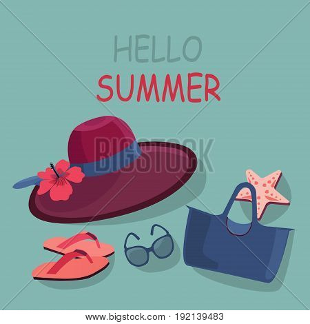 Hello summer concept illustration. Summer vacation banner with sun hat glasses bag and slippers ready for beach season. Vector vacation theme for design card invitation.