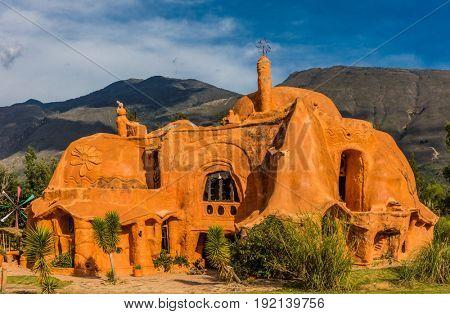 Villa De Leyva, Colombia - February 8, 2017 : Casa Terracota House architect Octavio Mendoza was built using clay and baked in the sun in Villa de Leyva Boyaca in Colombia South America