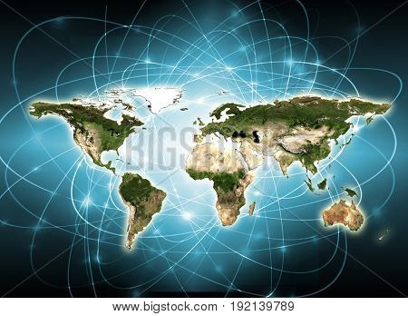 World map on a technological background. Best Internet Concept of global business. Elements of this image furnished by NASA
