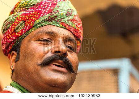 Rajasthani man in Jaipur, Rajasthan, India