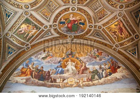 ROME - August 03: Architectural fragment of St. Peter's Cathedral on August 03, 2014 in Vatican (Rome), Italy
