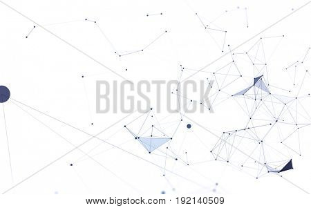 3D Abstract Polygonal White Background with Blue Low Poly Connecting Dots and Lines - Connection Structure - Futuristic HUD Background