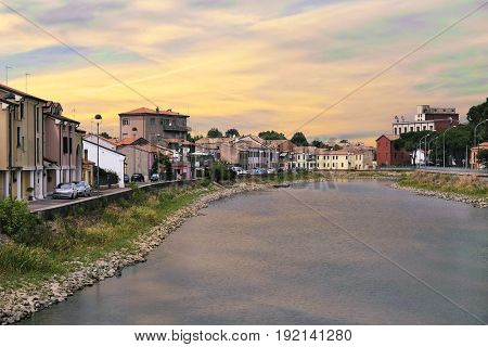 Adria, Italy - June, 15, 2017: embankment of a chanel in Adria