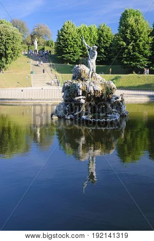 Florence, Italy - June, 5, 2017: Sculptur in the fontane in the Pitti palace garden in Florence, Italy