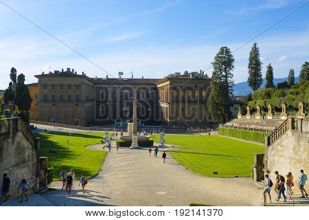 Florence, Italy - June, 5, 2017: View of Pitti palace in Florence, Italy from it's garden