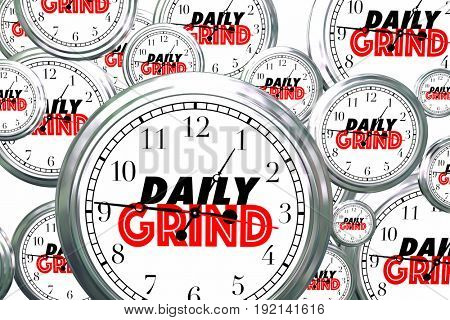 Daily Grind Clocks Flying Wasting Time Routine Ritual 3d Illustration