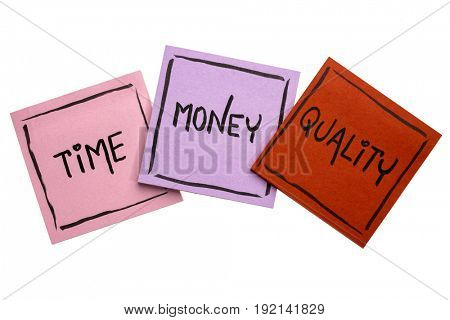 time, money, quality concept - handwriting in black ink on isolated sticky notes