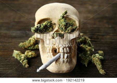 Scull with cigarette and weed buds on wooden background