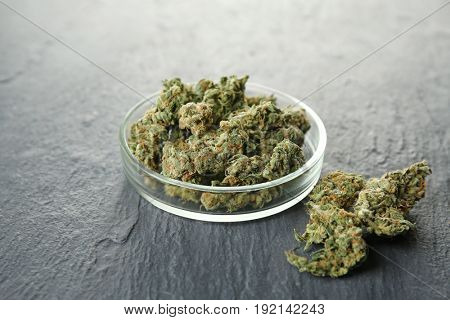 Heap of weed buds and Petri dish on grey background