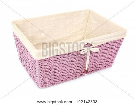 Empty wicker bread basket isolated on white