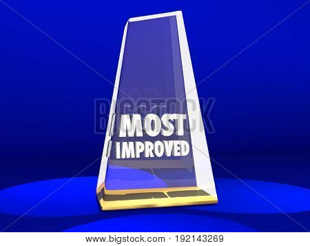 Most Improved Award Honor Improvement 3d Illustration