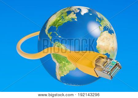 Fast internet connection concept. 3D rendering on blue sky
