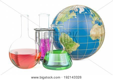 Flasks with Earth globe global research and discovery concept. 3D rendering