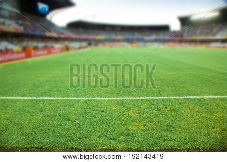 stadium arena soccer field defocused background