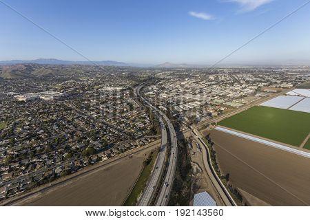 Aerial view of the 101 Freeway in Ventura, California