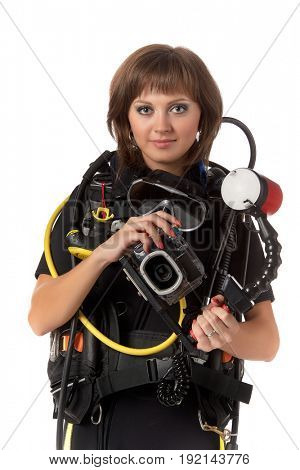 Beautiful woman scuba diver  with photocamera on a white background.