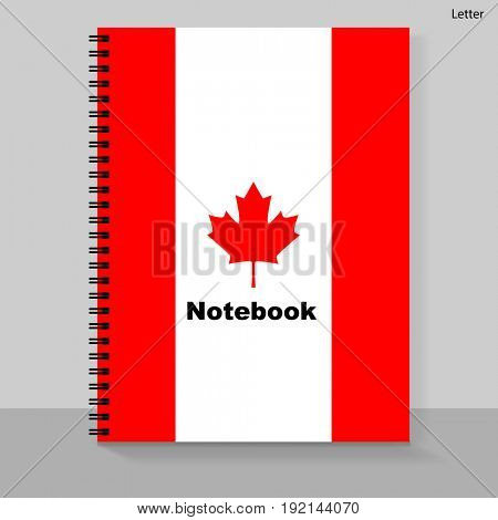 Template cover Letter Notebook with individual design: the Canada flag.