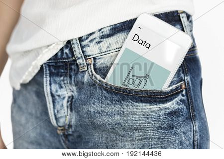 Mobile phone in pocket network graphic overlay
