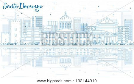 Outline Santo Domingo Skyline with Blue Buildings and Reflections. Business Travel and Tourism Concept with Modern Architecture. Image for Presentation Banner Placard and Web Site.