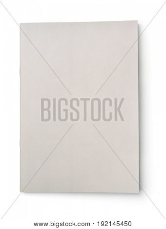 Blank grey brochure cover isolated on white