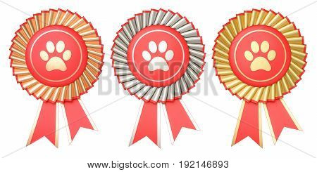 Set of dog or cat winning awards badges with ribbons. 3D rendering