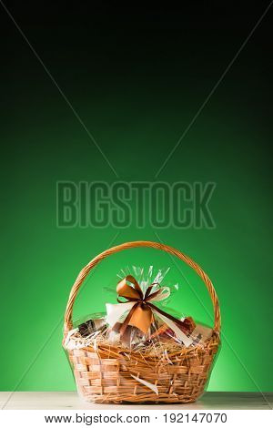 gift basket on green background